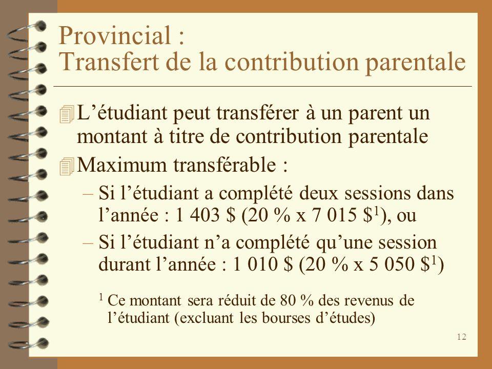 Provincial : Transfert de la contribution parentale