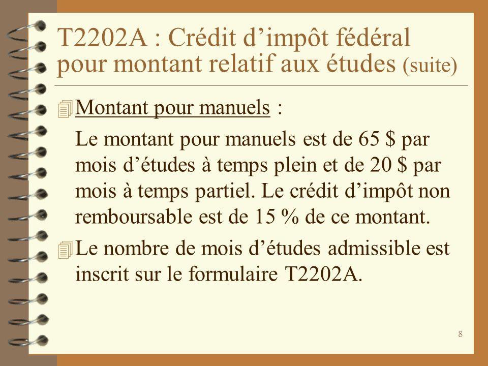 T2202A : Crédit d'impôt fédéral pour montant relatif aux études (suite)