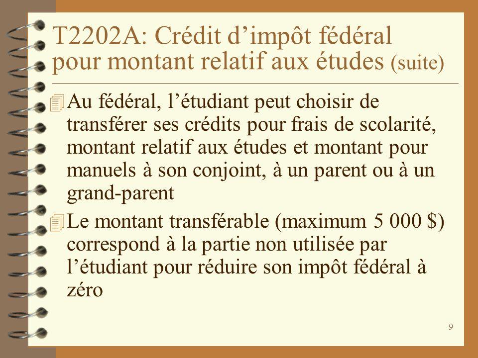 T2202A: Crédit d'impôt fédéral pour montant relatif aux études (suite)