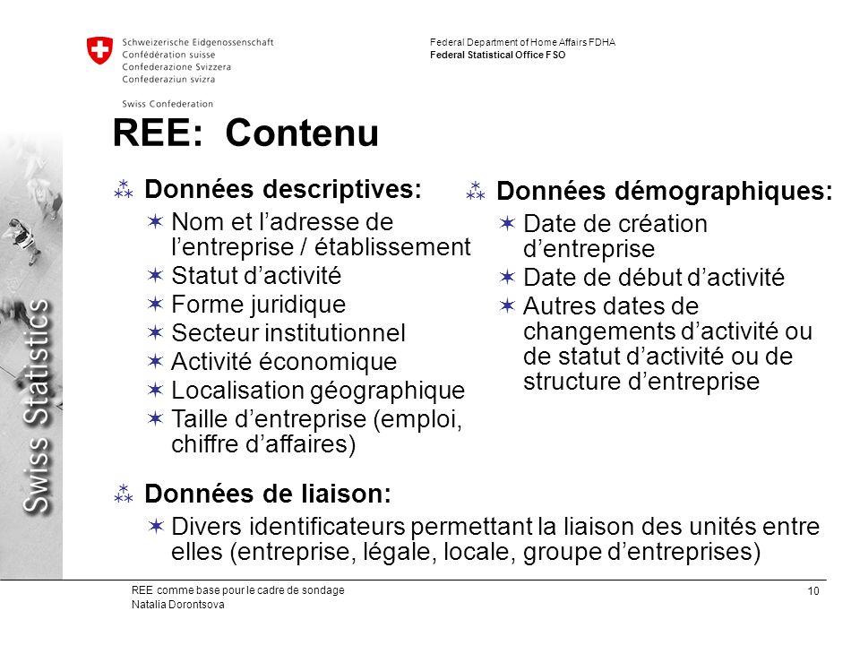 REE: Contenu Données descriptives: Données démographiques: