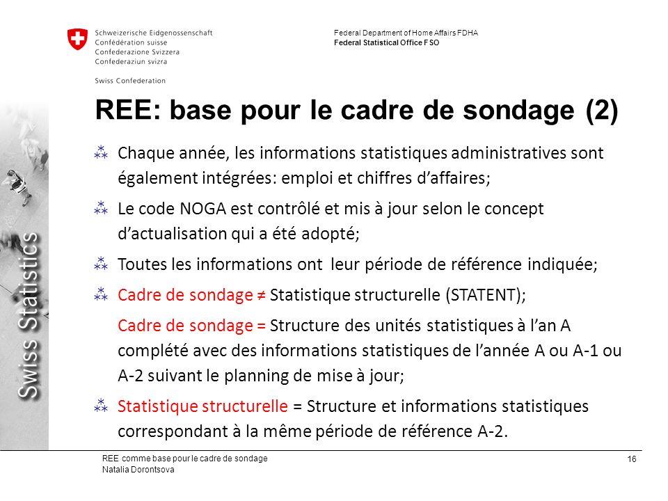 REE: base pour le cadre de sondage (2)