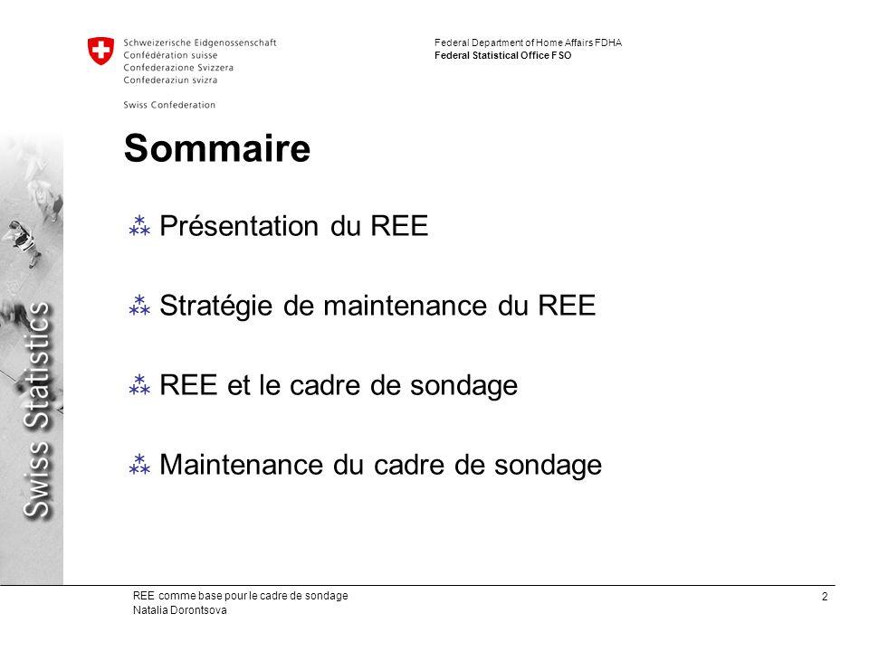 Sommaire Présentation du REE Stratégie de maintenance du REE