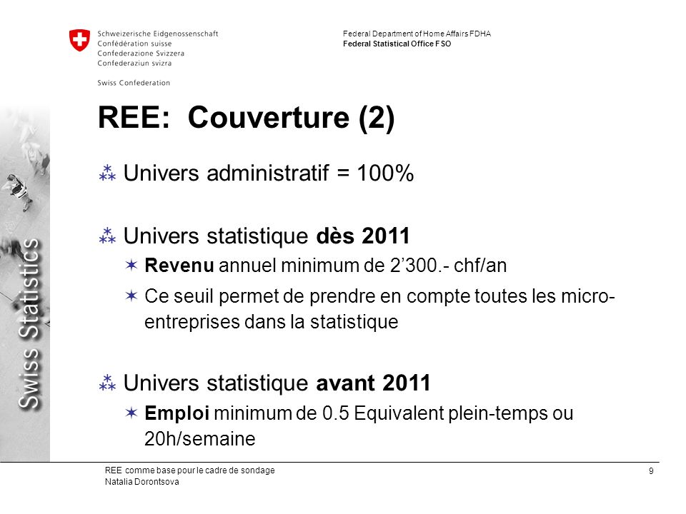 REE: Couverture (2) Univers administratif = 100%