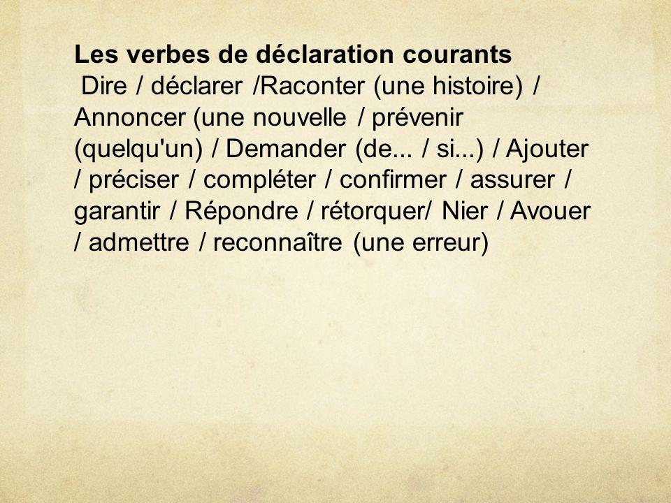 Les verbes de déclaration courants