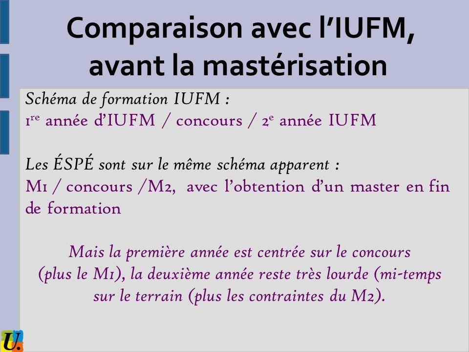 Comparaison avec l'IUFM, avant la mastérisation