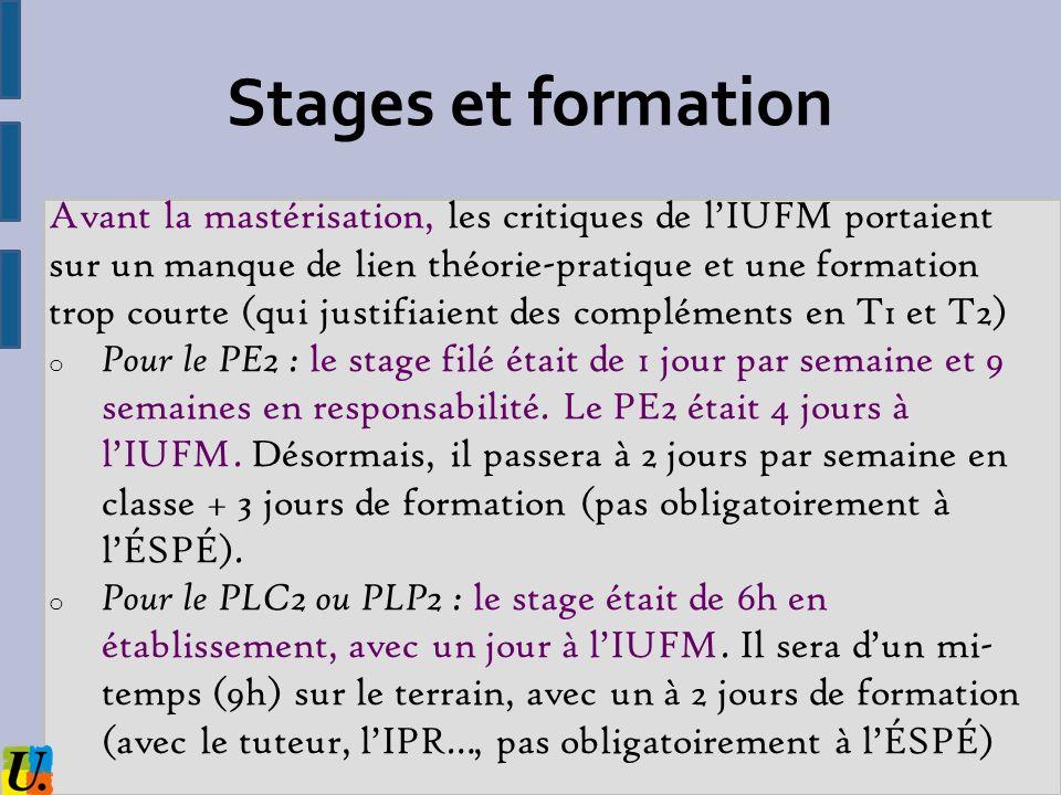 Stages et formation