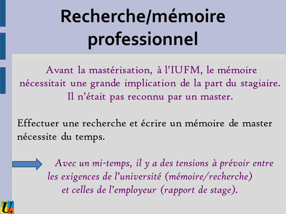 Recherche/mémoire professionnel
