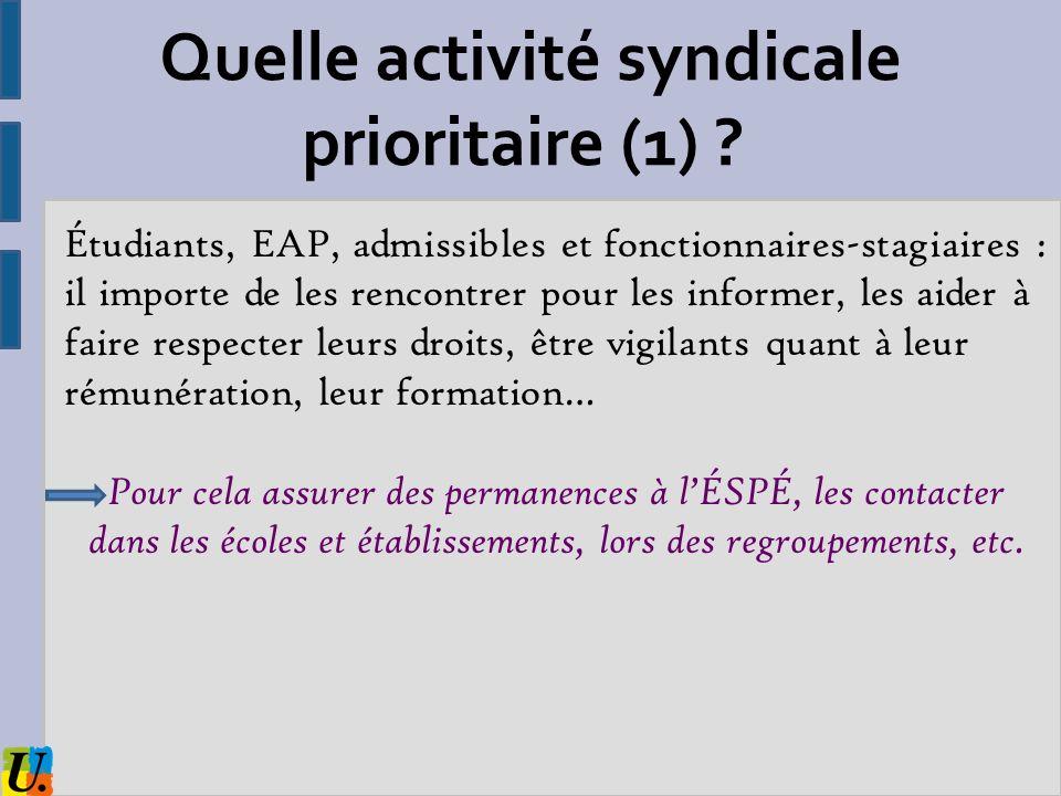 Quelle activité syndicale prioritaire (1)