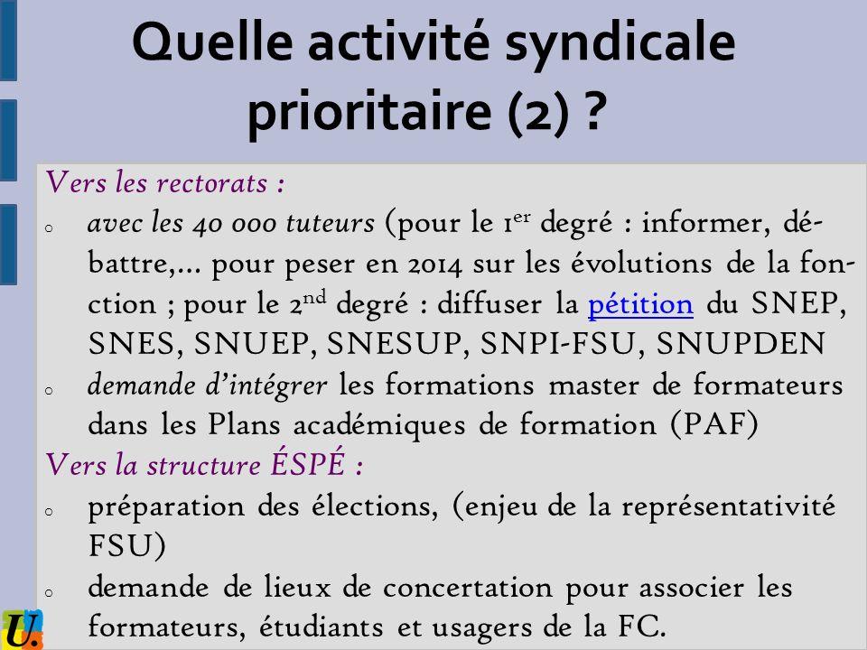 Quelle activité syndicale prioritaire (2)
