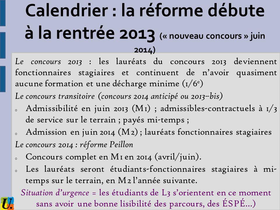 Calendrier : la réforme débute à la rentrée 2013 (« nouveau concours » juin 2014)