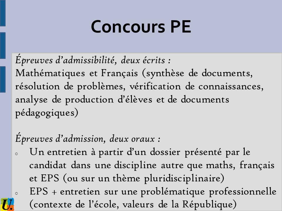 Concours PE Épreuves d'admissibilité, deux écrits :