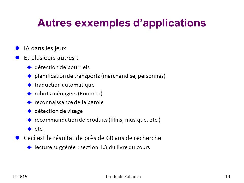 Autres exxemples d'applications