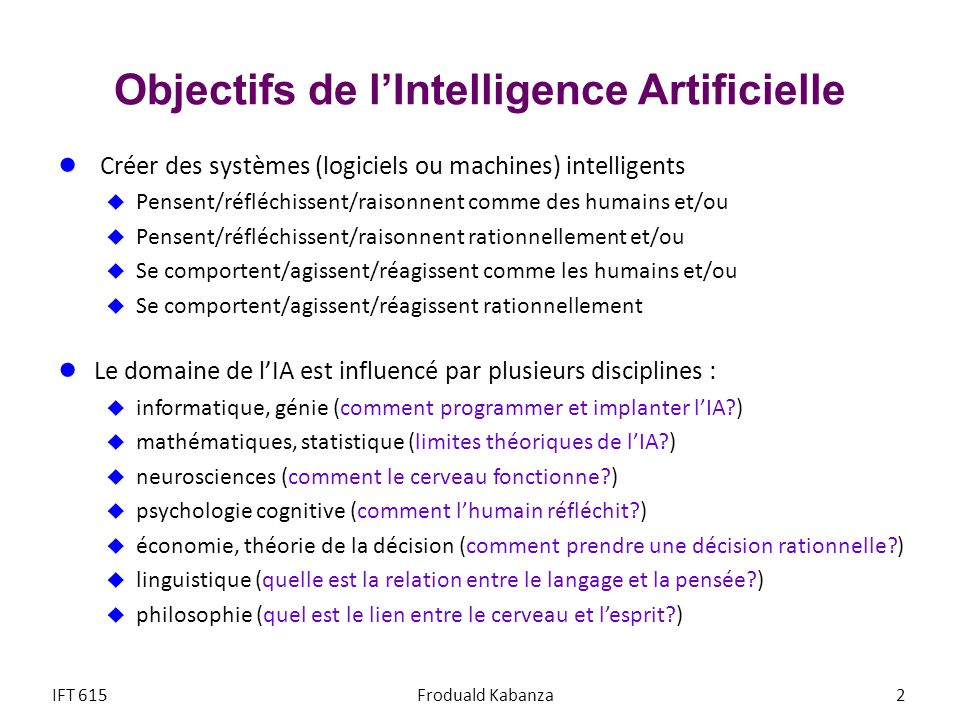 Objectifs de l'Intelligence Artificielle