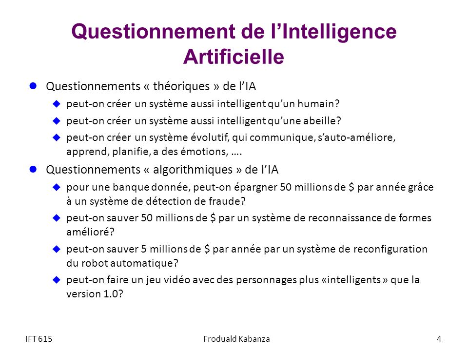 Questionnement de l'Intelligence Artificielle