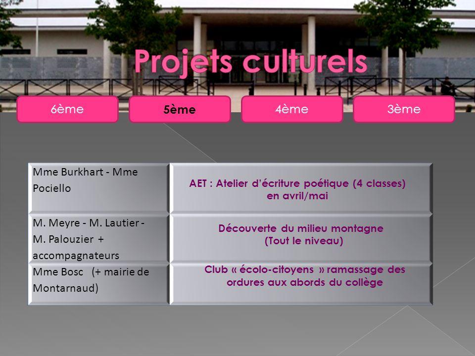 Projets culturels 6ème 5ème 4ème 3ème Mme Burkhart - Mme Pociello