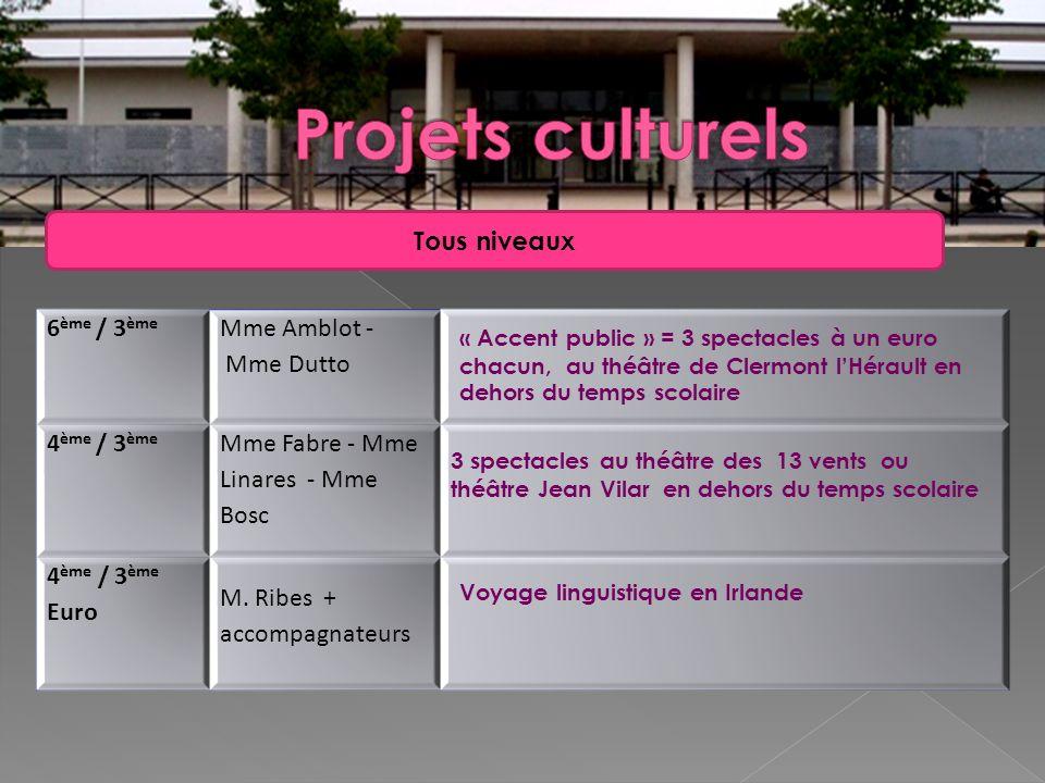 Projets culturels Tous niveaux 6ème / 3ème Mme Amblot - Mme Dutto