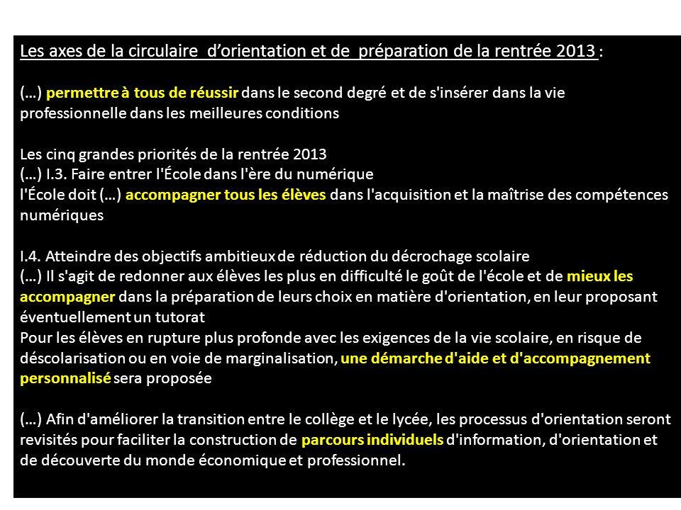 Les axes de la circulaire d'orientation et de préparation de la rentrée 2013 :