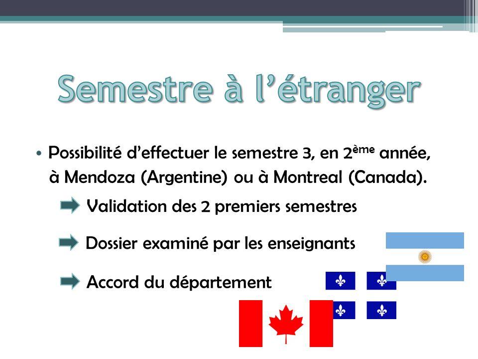 Semestre à l'étranger Possibilité d'effectuer le semestre 3, en 2ème année, à Mendoza (Argentine) ou à Montreal (Canada).