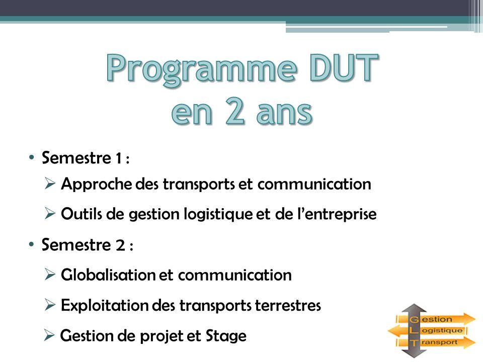Programme DUT en 2 ans Semestre 1 : Semestre 2 :