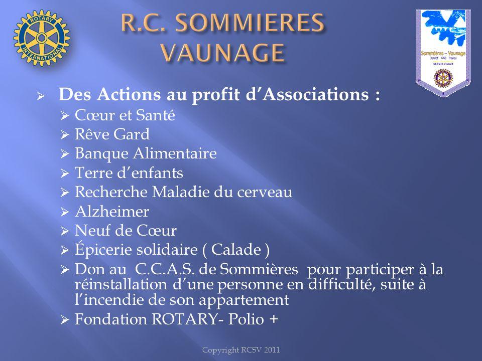 R.C. SOMMIERES VAUNAGE Des Actions au profit d'Associations :