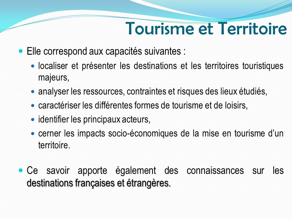 Tourisme et Territoire