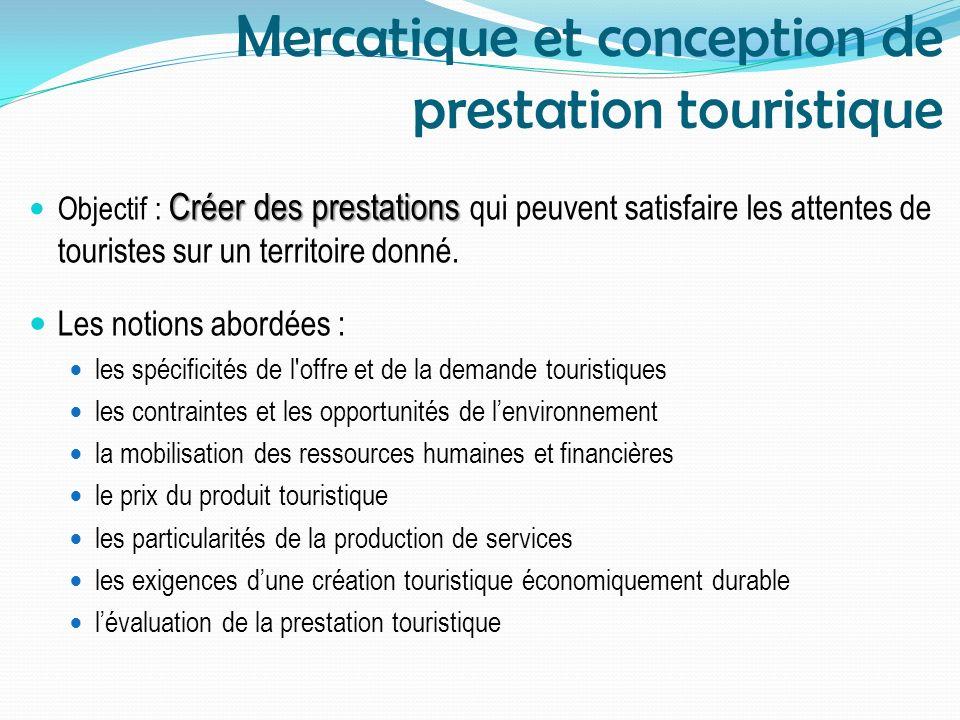 Mercatique et conception de prestation touristique