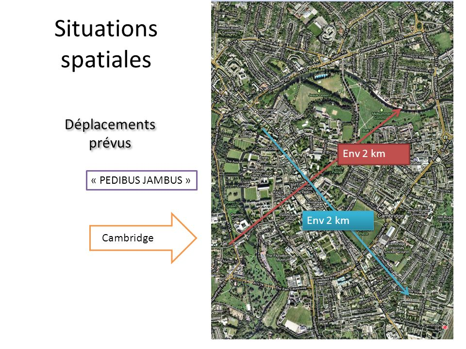Situations spatiales Déplacements prévus Env 2 km « PEDIBUS JAMBUS »