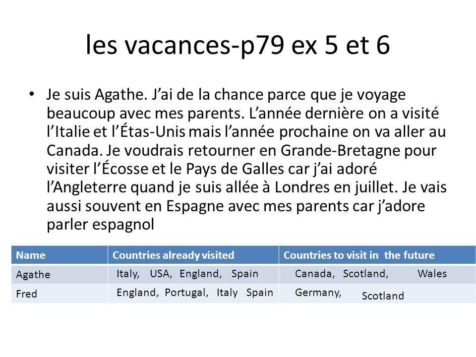 les vacances-p79 ex 5 et 6