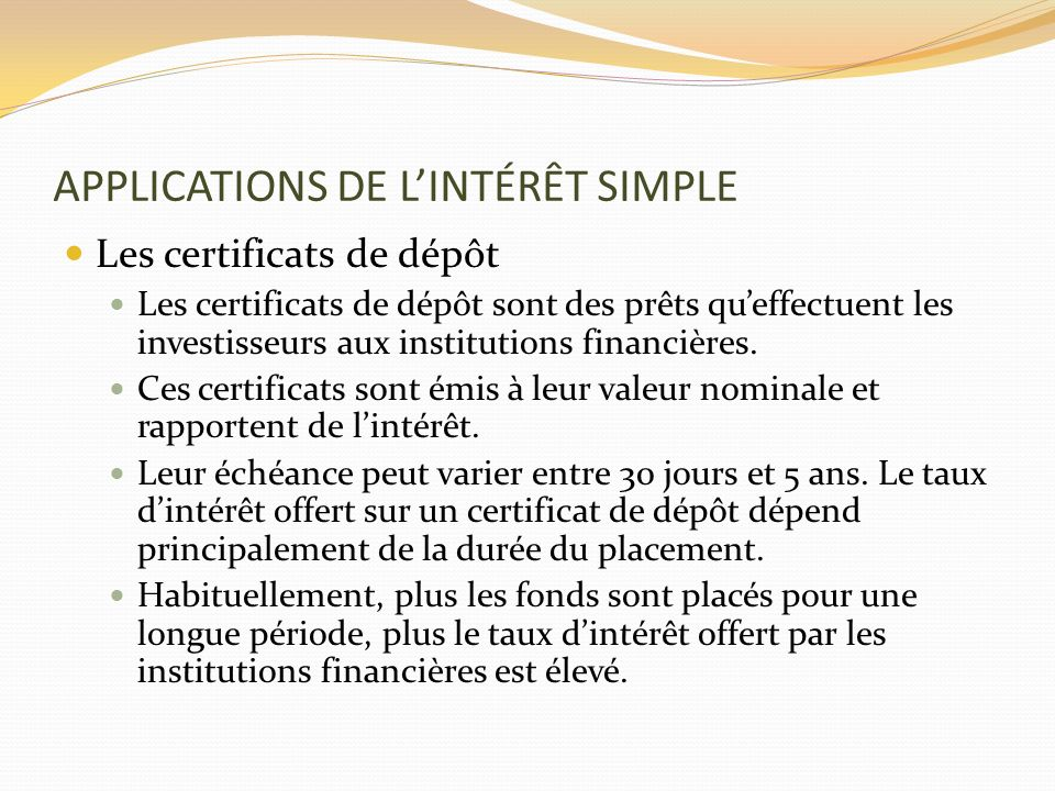 APPLICATIONS DE L'INTÉRÊT SIMPLE