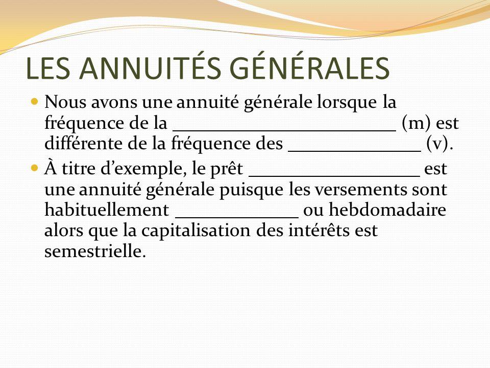 LES ANNUITÉS GÉNÉRALES