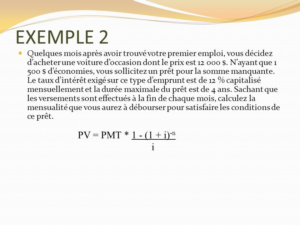 EXEMPLE 2 PV = PMT * 1 - (1 + i)-n i