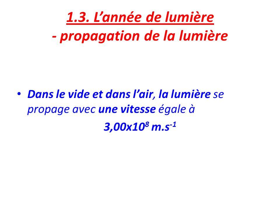 1.3. L'année de lumière - propagation de la lumière
