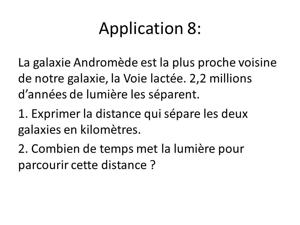 Application 8: La galaxie Andromède est la plus proche voisine de notre galaxie, la Voie lactée. 2,2 millions d'années de lumière les séparent.