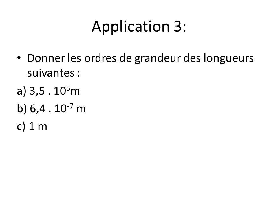 Application 3: Donner les ordres de grandeur des longueurs suivantes :