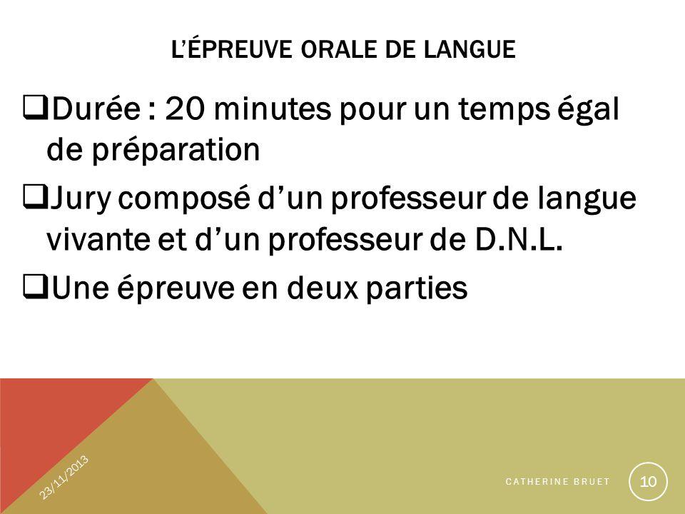 L'épreuve orale de langue