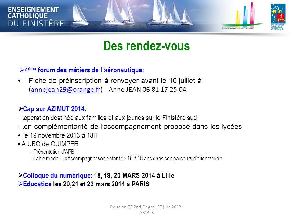 Préparation de la rentrée 2013-2014:· Les Des rendez-vous