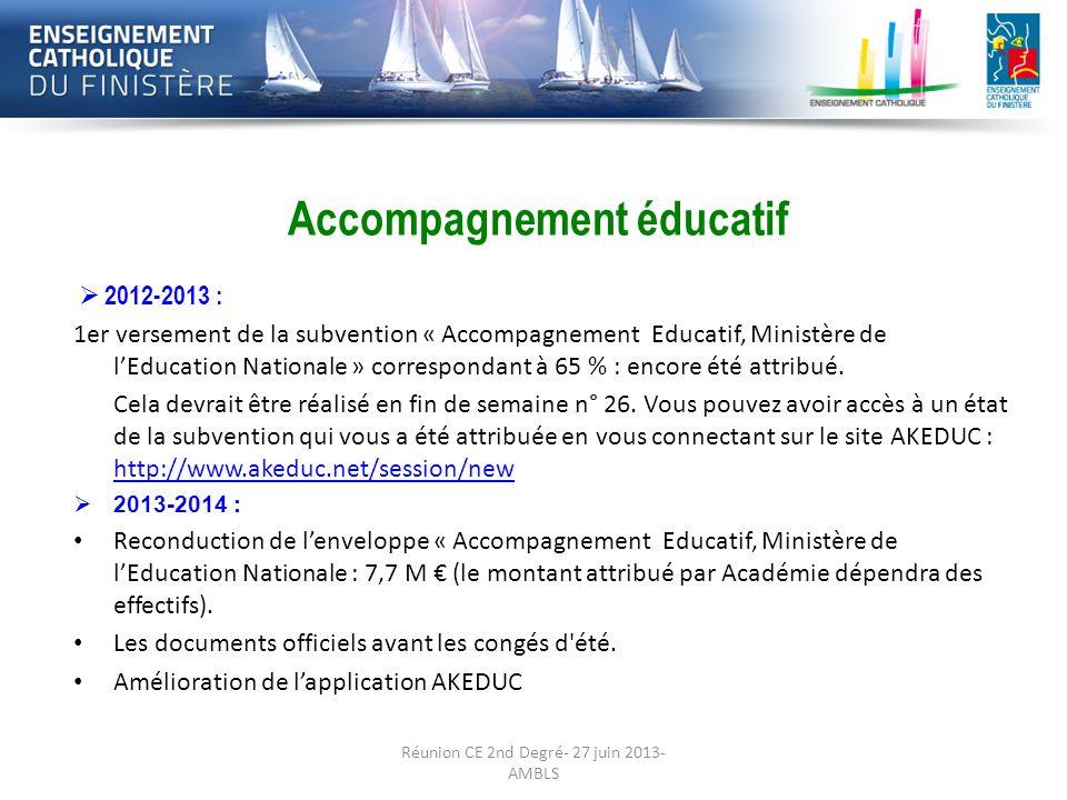 Préparation de la rentrée 2013-2014:· Les Accompagnement éducatif