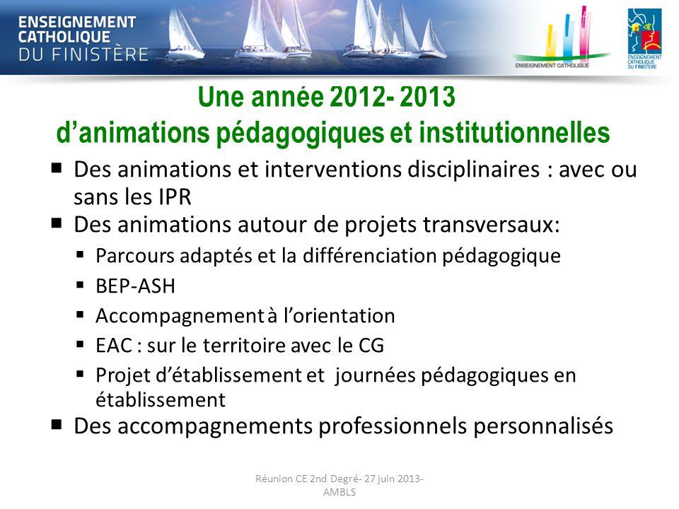 Une année 2012- 2013 d'animations pédagogiques et institutionnelles