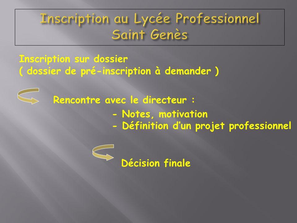 Inscription au Lycée Professionnel Saint Genès