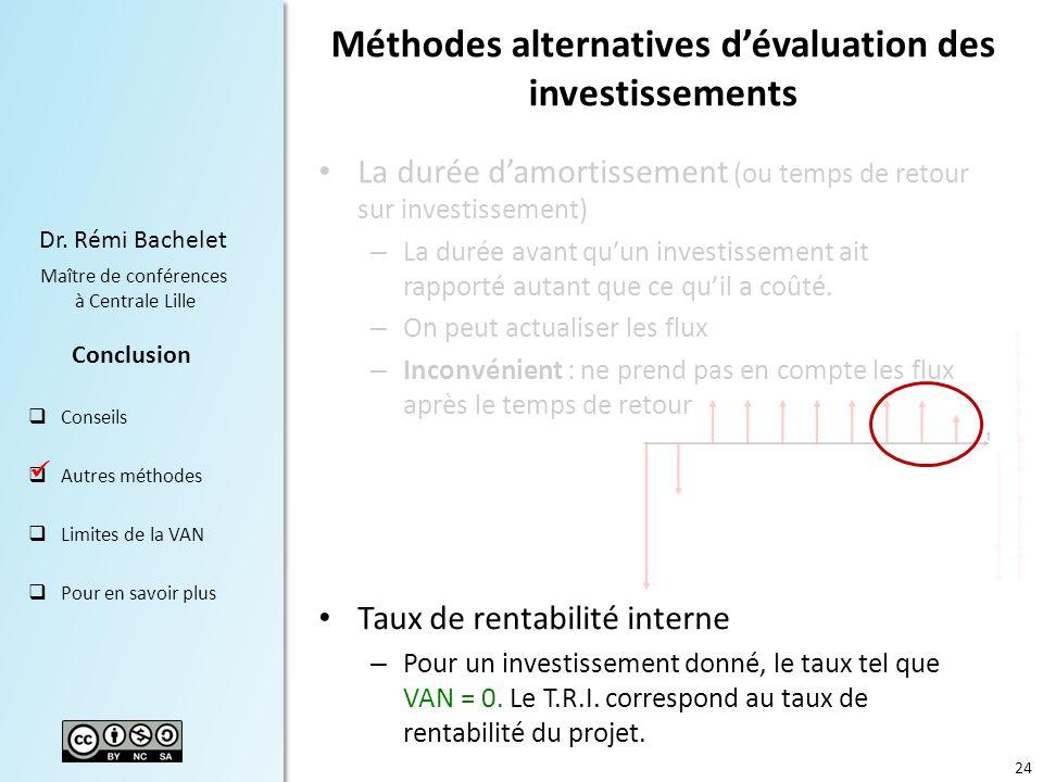 Méthodes alternatives d'évaluation des investissements