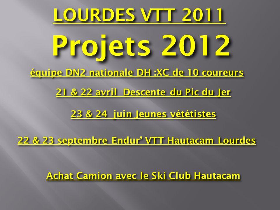 LOURDES VTT 2011 Projets 2012. équipe DN2 nationale DH :XC de 10 coureurs. 21 & 22 avril Descente du Pic du Jer.