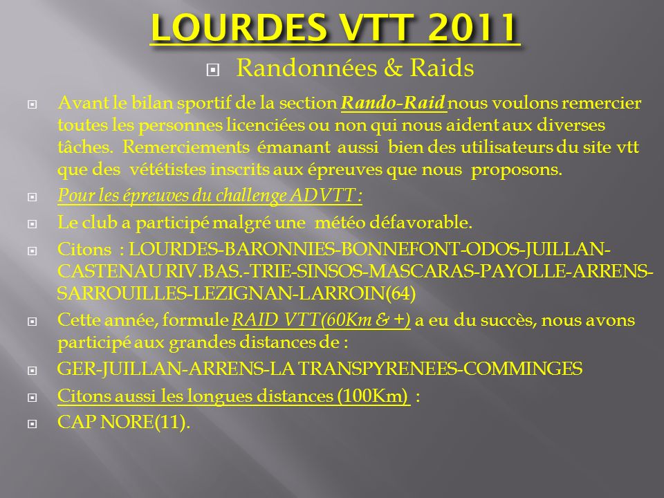 LOURDES VTT 2011 Randonnées & Raids