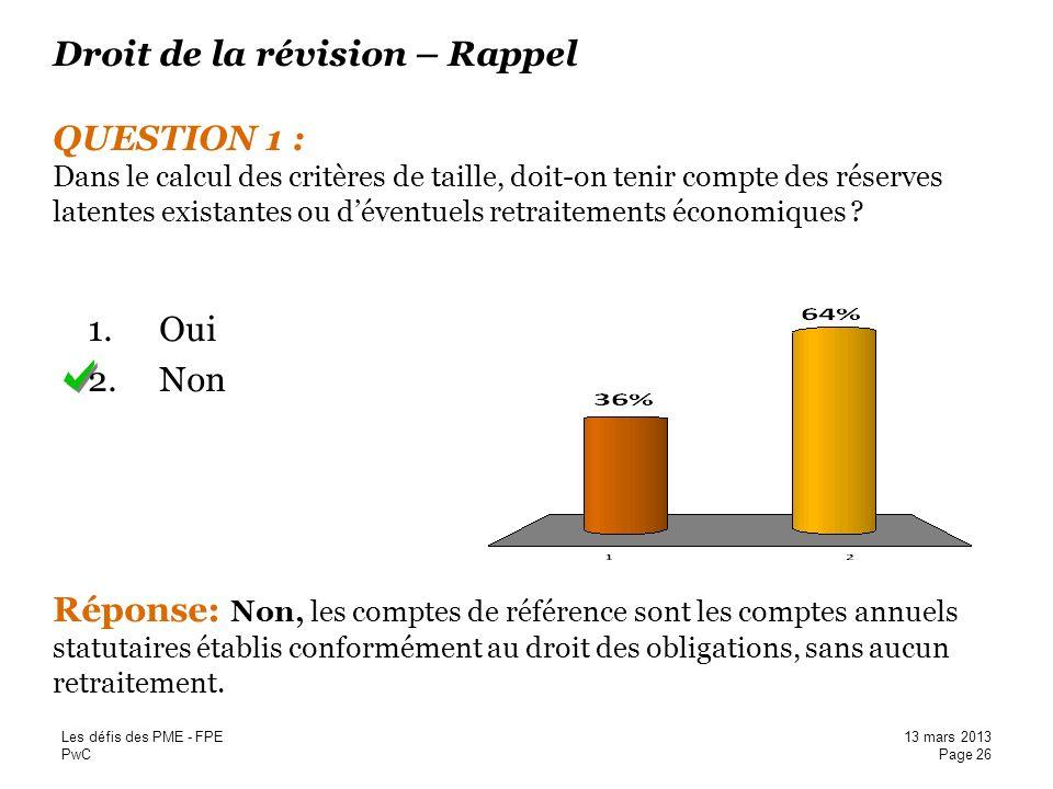 Droit de la révision – Rappel QUESTION 1 : Dans le calcul des critères de taille, doit-on tenir compte des réserves latentes existantes ou d'éventuels retraitements économiques