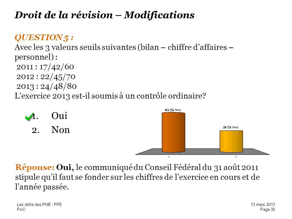 Droit de la révision – Modifications QUESTION 5 : Avec les 3 valeurs seuils suivantes (bilan – chiffre d'affaires – personnel) : 2011 : 17/42/60 2012 : 22/45/70 2013 : 24/48/80 L'exercice 2013 est-il soumis à un contrôle ordinaire