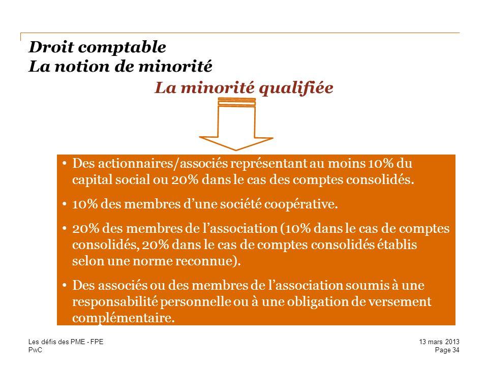 Droit comptable La notion de minorité