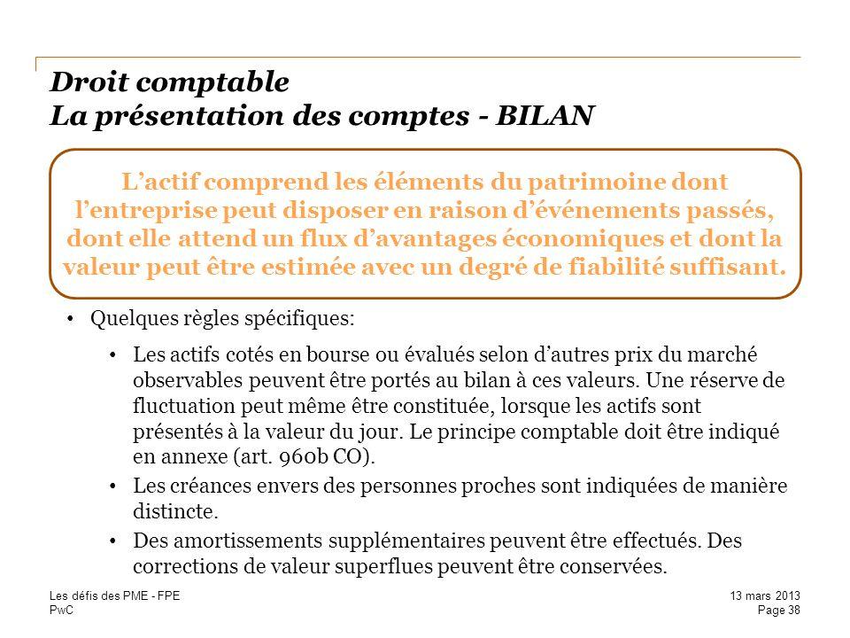 Droit comptable La présentation des comptes - BILAN