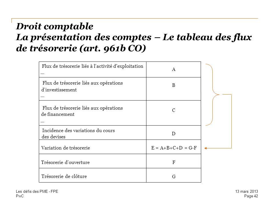 Droit comptable La présentation des comptes – Le tableau des flux de trésorerie (art. 961b CO)