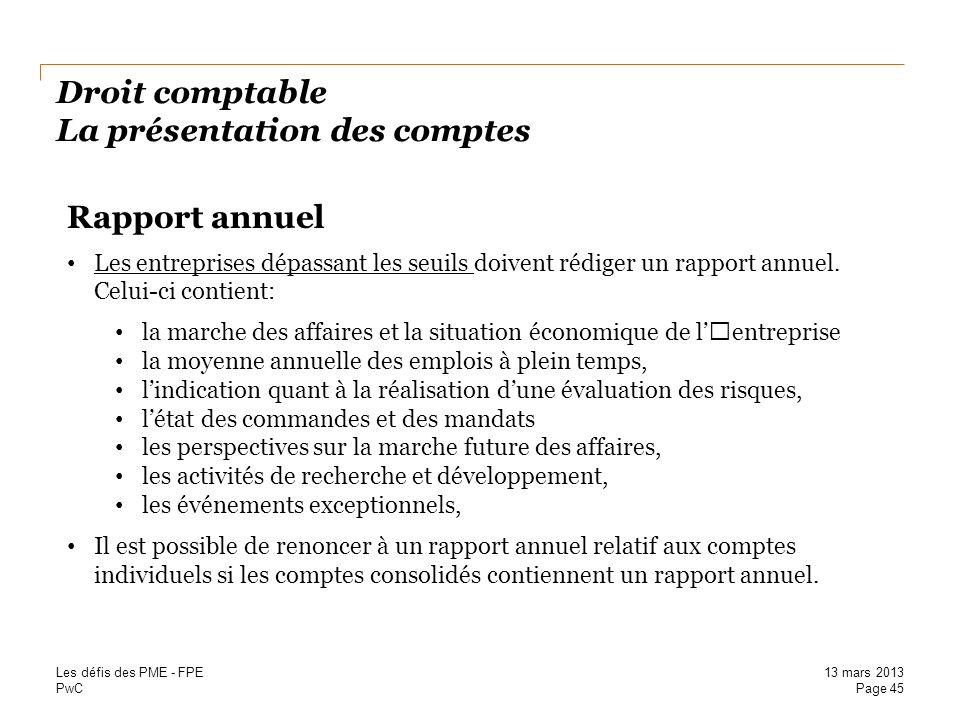 Droit comptable La présentation des comptes