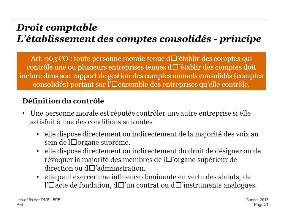 Droit comptable L'établissement des comptes consolidés - principe