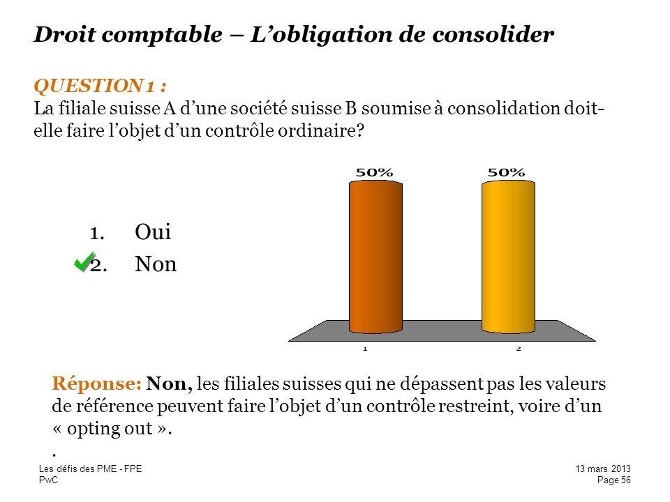 Droit comptable – L'obligation de consolider QUESTION 1 : La filiale suisse A d'une société suisse B soumise à consolidation doit-elle faire l'objet d'un contrôle ordinaire